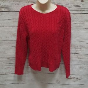 Liz Claiborne Red Cable Knit Crew Neck Sweater